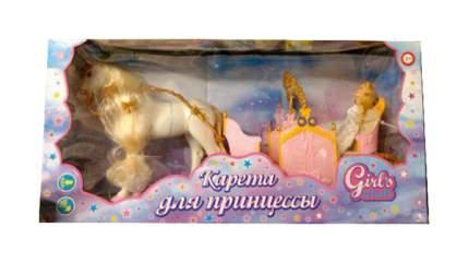 Карета с лошадью и куклой движение, звук, розово-желтая
