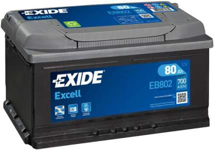 Аккумулятор автомобильный EXIDE EB802 80 Ач