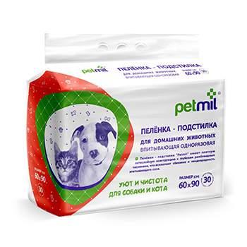 Пеленка-подстилка для домашних животных PETMIL 60x90 cм 30 штук