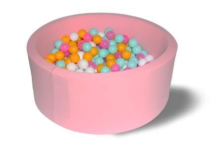Сухой игровой бассейн Розовый цветок 40см с 200 шариками: розовый, белый, желтый, мятный
