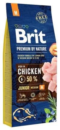 Сухой корм для щенков Brit Premium By Nature Junior M, для средних пород, курица, 18кг