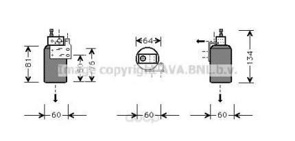 Радиатор кондиционера автомобильный Ava OLD143