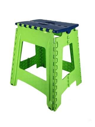 Табурет Трикап складной пластиковый большой, синяя крышка/салатовая основа