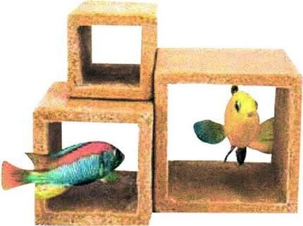 Декорация для аквариума Penn-Plax Каменный куб, пластик, 17х12,5х13 см, 3 шт