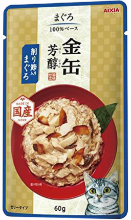 Влажный корм для кошек AIXIA «Kin-Can» Hojyun, тунец и сушеный бонито в желе 70г
