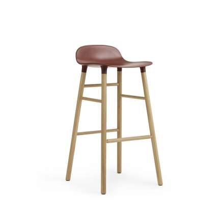 Барный стул Form с ножками из дуба 75 см, красный