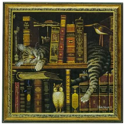 Репродукция в раме 44x44 см Hoff Кот в книгах