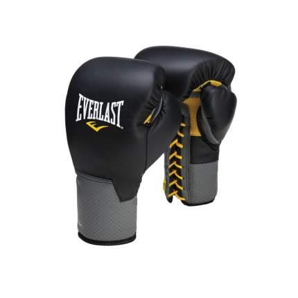 Боксерские перчатки тренировочные Everlast Pro Leather Laced черные 14 унций