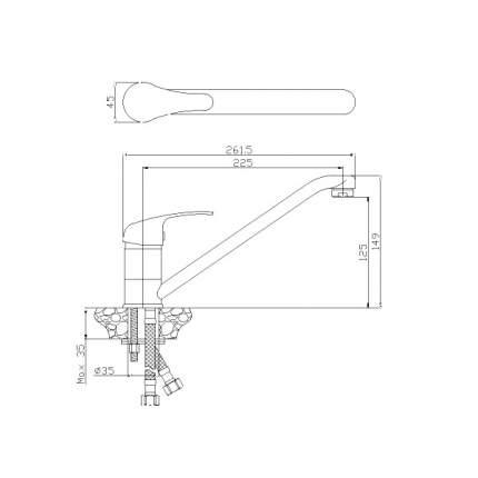 Смеситель для кухонной мойки Rossinka Silvermix Y35-21 хром