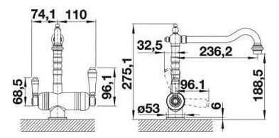 Смеситель для кухонной мойки Blanco SORA 524218 латунь