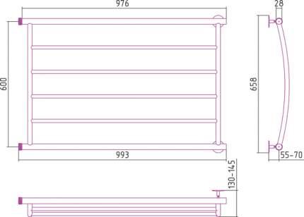 Водяной полотенцесушитель Стилье Минор 600х1000 арт. 00602-6010