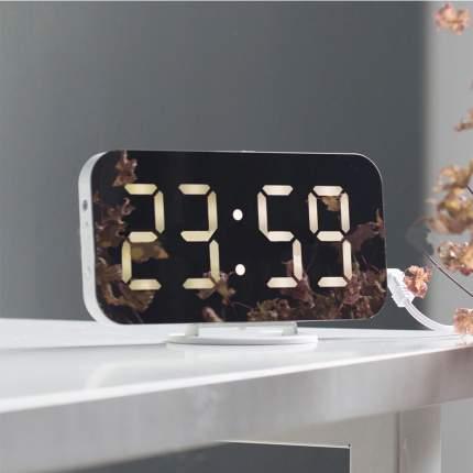 Электронные настольные/настенные зеркальные часы с USB (белый корпус, белые цифры)