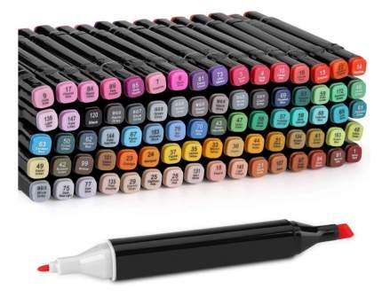 Набор профессиональных двухсторонних маркеров для скетчинга 80 цветов в чехле