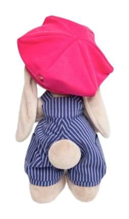 Мягкая игрушка Зайка Ми в синем комбинезоне в полоску и с малиновой кепкой, 25 см Зайка Ми