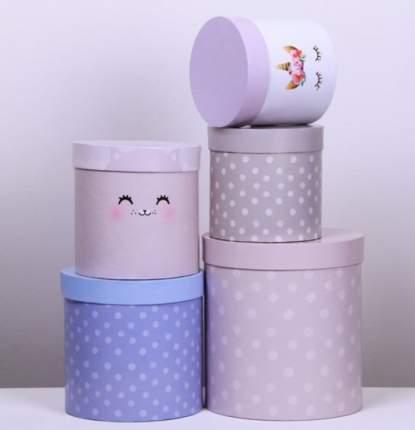 Набор круглых подарочных коробок 5 в 1 «Нежный», 23 × 23 × 25‒15 × 15 × 15 см Sima-Land