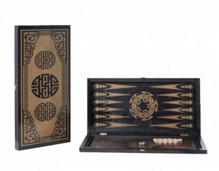Нарды большие черные, золото Китайский орнамент 151-17