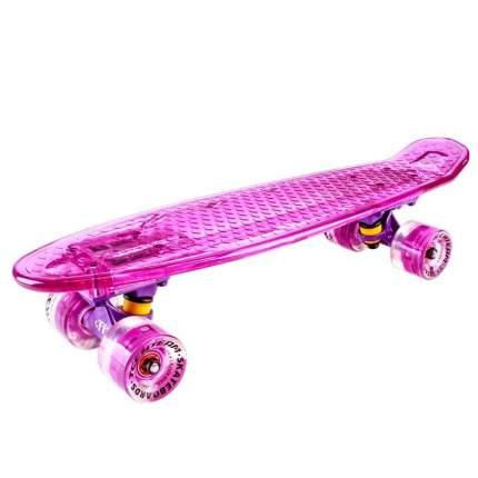 """Скейтборд-круизер Tech Team Transparent Light 22"""" светящийся (фиолетовый)"""