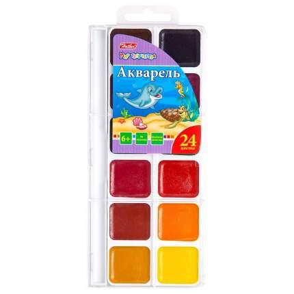 Акварель медовая Дельфины , 24 цвета Hatber KKa_24010
