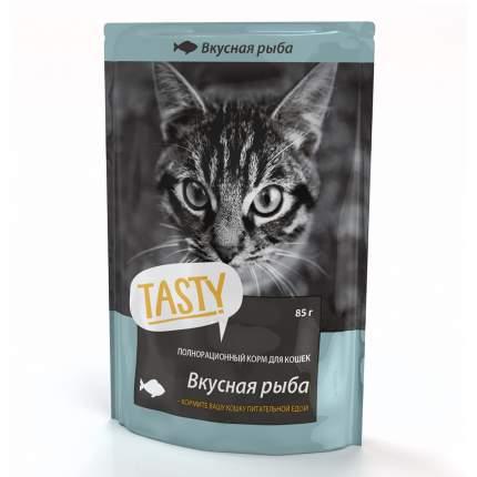 Влажный корм для кошек TASTY, с рыбой в желе, 25шт по 85г