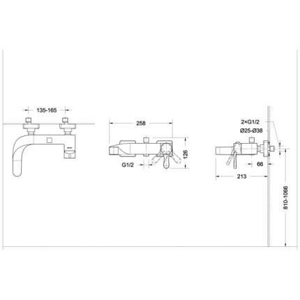 Смеситель для ванны BRAVAT F674108C-01