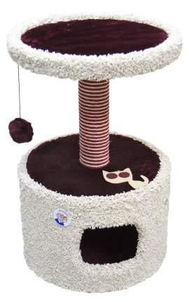 Домик для кошек Зооник Круглый с полкой и аппликацией, красный, 46x46x70см