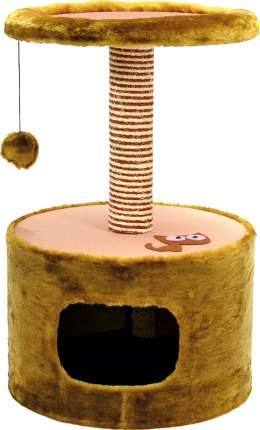 Домик для кошек Зооник Круглый, коричневый, 42x42x66см