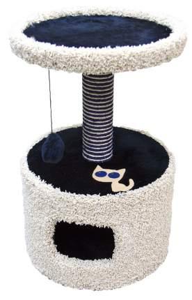 Домик для кошек Зооник Круглый с полкой и аппликацией, синий, 46x46x70см
