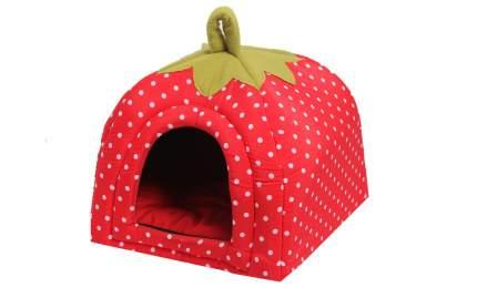 Домик для кошек и собак Lion Ягодка, красный, белый, зеленый, 45x45x40см