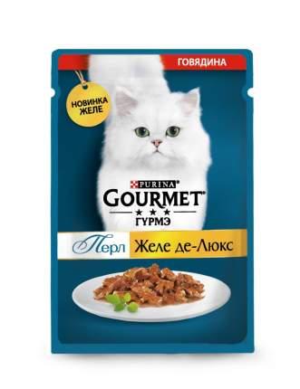 Влажный корм для кошек Gourmet Perl Желе-де-Люкс, с говядиной, 26шт по 75г