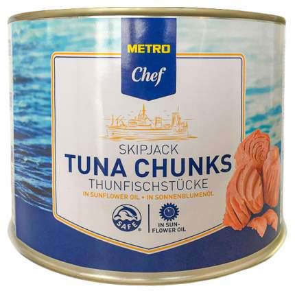 Тунец Chef полосатый кусочками в подсолнечном масле ж/б 1705 г