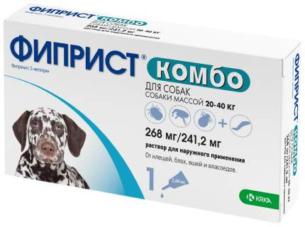 Капли для собак против паразитов KRKA Фиприст, 20-40 кг, 1 пипетка, 2,68 мл
