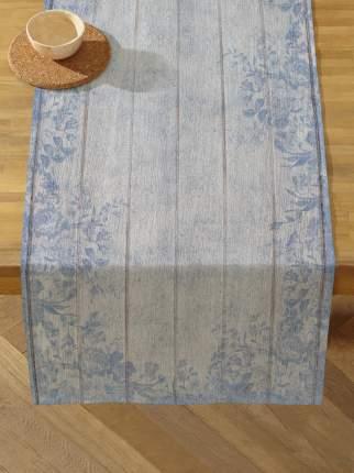 Дорожка на стол 50х140 см под дерево голубая