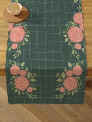 Дорожка на стол 50х140 см Розы зеленая