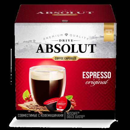 Кофе Absolut Drive Espresso Original в капсулах для кофемашины Dolce Gusto 16 капсул