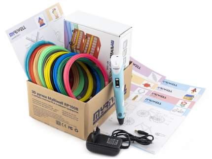 3D-ручка Myriwell RP100B голубая с трафаретами для 3D-ручек и пластиком PLA 10х10 м