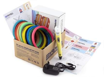 3D-ручка Myriwell RP100B желтая с трафаретами для 3D-ручек и пластиком PLA 10х10 м