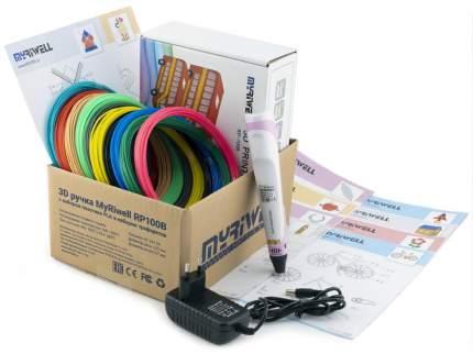 3D-ручка Myriwell RP100B розовая с трафаретами для 3D-ручек и пластиком PLA 10х10 м