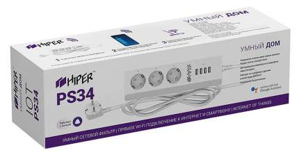 Сетевой фильтр Hiper IoT PS34, 3 розетки, 3 м, White