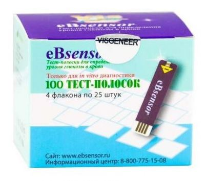 Тест-полоски для определения уровня глюкозы в крови eBsensor 100 шт.