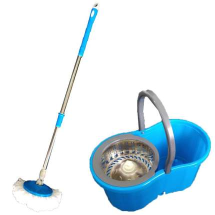 Чудо швабра с ведром для мытья пола Spin Mop синяя
