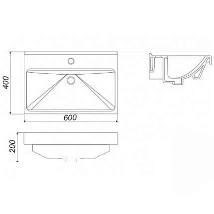 Умывальник мебельный Sanita Luxe Фест 60 , белый (SL403001)