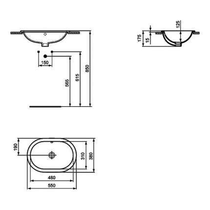 Коннект Умывальник овальный, 550х380мм,  встраиваемый под столешницу, белый (E504801)