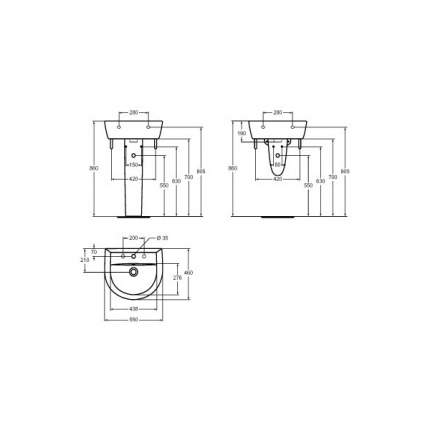 Умывальник Vidima Сева-Микс (BOX) W402961  550x460 мм, белый
