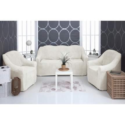 Комплект чехлов на диван и кресла плюшевый Venera Soft sofa set, молочный, 3 предмета