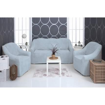 """Комплект чехлов на диван и кресла плюшевый Venera """"Soft sofa set"""", цвет: серый, 3 предмета"""