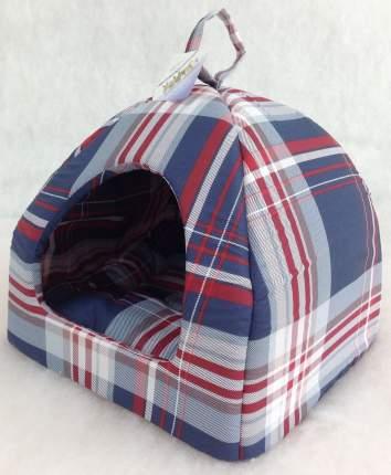 Домик для кошек и собак Бобровый Дворик Шотландка синяя №1, 39x39x35см