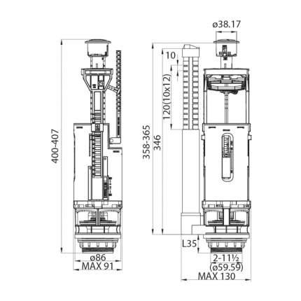 Сливная арматура для бачка с нижним подводом воды IDDIS F012400-01K