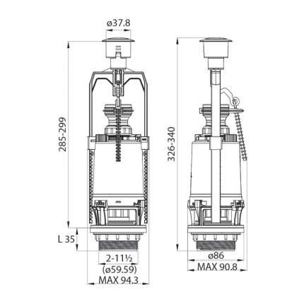 Сливная арматура для бачка с нижним подводом воды IDDIS F012400-0004