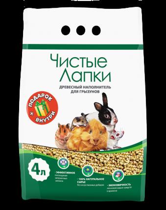 Наполнитель Чистые лапки Древесный 4 л 1,7 кг