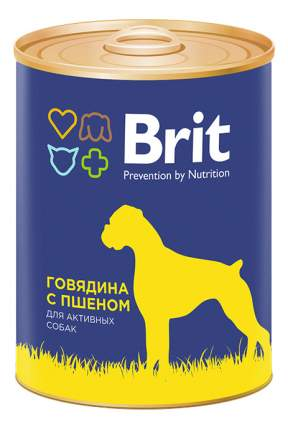 Консервы для собак Brit, говядина, пшено, 12шт, 850г